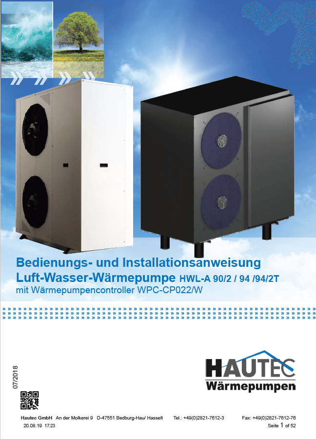 Bedienungsanleitung Luft HWL-A 2019